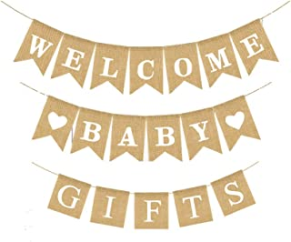 Welcome Baby and Gifts Banner Set Burlap Rustic Bunting Garland for Baby Shower Party Decorations