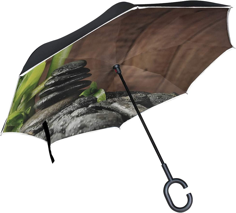 Double Layer Ingreened Bamboo Grove and Black Zen Stones Umbrellas Reverse Folding Umbrella Windproof Uv Predection Big Straight Umbrella for Car Rain Outdoor with CShaped Handle