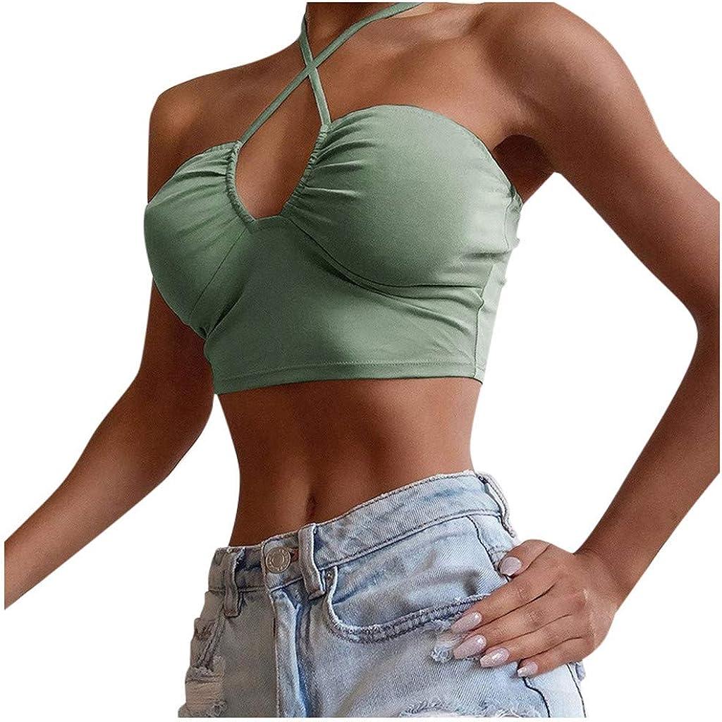 MASZONE Women's Sexy Halter Crop Tops Criss Cross Solid Color Cami Tank Tops Summer Beach Slim Sleeveless Camisole Vest