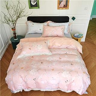 Funda Nórdica,Estilo Campestre Tencel Luz Reactiva Pink Butterfly Camas Conjunto Four-Piece Impresión Textil Hogar Confortable Colcha Edredón Nórdico Y Funda De Almohada,1.5/1.8M