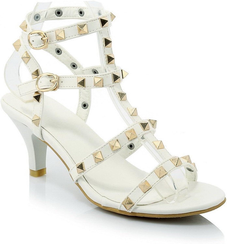 AmoonyFashion Women's Open Toe High Heels Buckle Assorted color Sandals