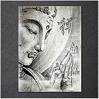 DLFALG 芸術的なプリントデッサン壁アート絵プリント仏教禅仏ポスターキャンバス絵画リビングルームの家の装飾-60x80cmフレームなし