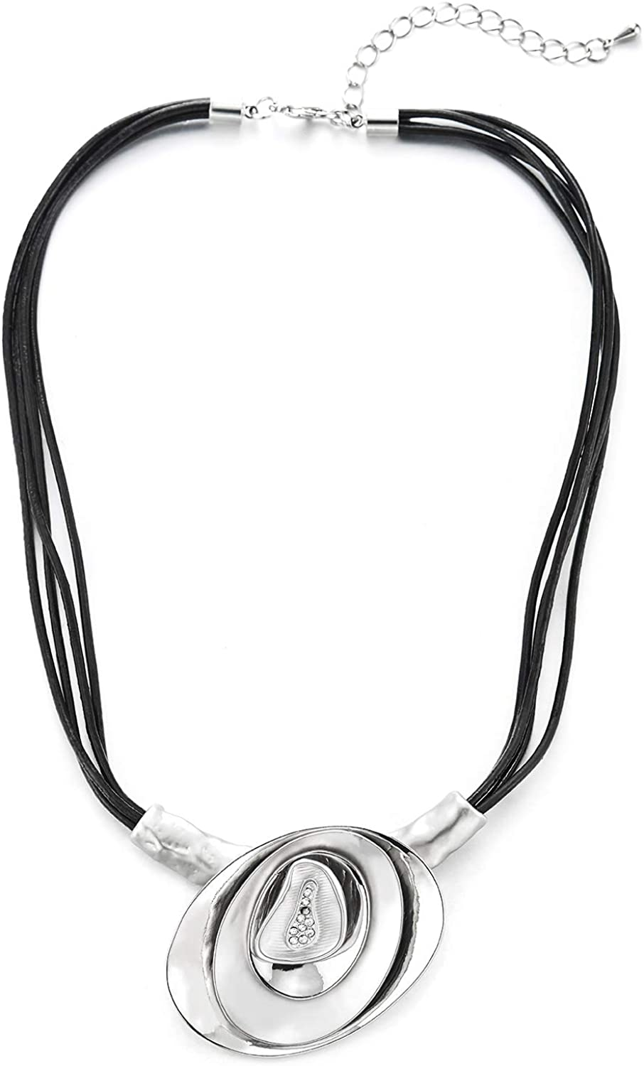 Fashion Chic Choker Collar Statement Necklace Rhinestones Stacked Oval Charm Pendant Leather Rope