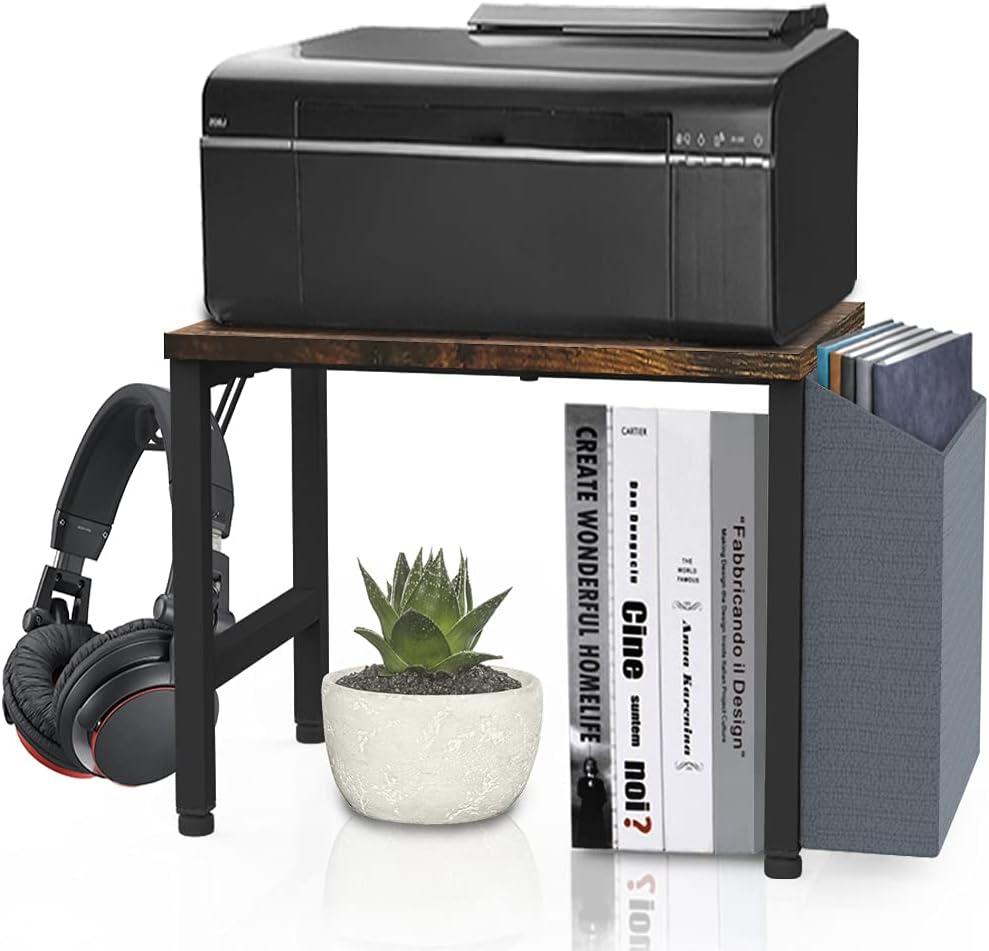 VEDECASA Vintage Wood Desktop Printer Stand Holder with Storage Bin Hook for Home Office Organizer Under Desk Industrial Farmhouse Wooden Printer Shelf with Adjustable Anti-Skid Pads (Rustic Brown)