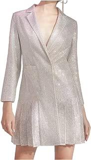 Women Sequin Blazer Dress Elegant Ruffles Shiny Metallic Silver Slim Lapel Collar Long Sleeve Long Jacket with Pockets