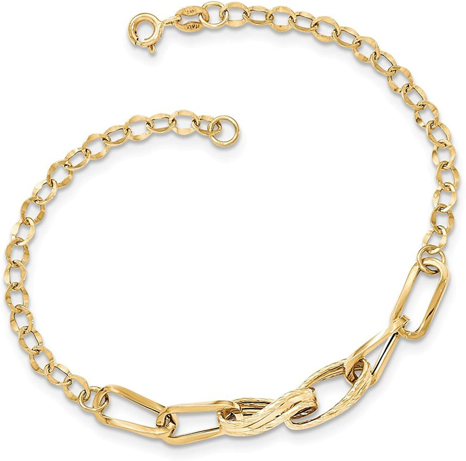 Beautiful Yellow gold 14K Yellowgold 14k gold Polished Textured Fancy Link Bracelet