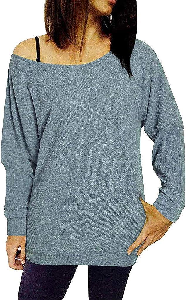Misaky Women's Long Sleeve Super-cheap Max 69% OFF Pullover Shoulder Casu Off Sweatshirt