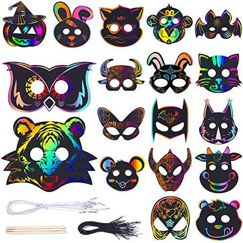 42 Set Magic Scratch Art Rainbow Scratch Paper Animal Masks with 18 Different Types Face Masks Elastic Cords Scratching Tool for Animal Birthday Party Halloween Dress-Up DIY Gift
