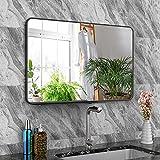 Espejo Pared Grande, Espejo Baño, Espejo Pared Rectangular de 71 x 46 cm, para Colgar Horizontal o Verticalmente, Adecuado para Baño, Sala de Estar y Dormitorio