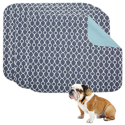 Geyecete Washable Dog Pee Pads (4pack), few Layers Design Waterproof/Soft/Super Absorbing/Anti-Slip Machine Washable, Reusable, Travel Pet Pee Pads! Puppy Training pads-Gray-S