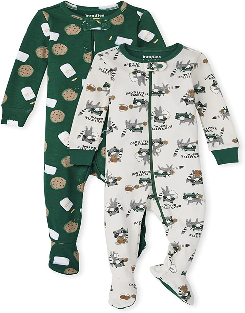 The Children's Place Baby and Toddler Milk and Cookies Snug Fit Cotton One Piece Pajamas 2-Pack