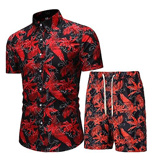 Conjunto Hombre Verano Moda Estampado con Botones Tapeta Hombre Shirts Pantalones Cortos con Cordones Manga...