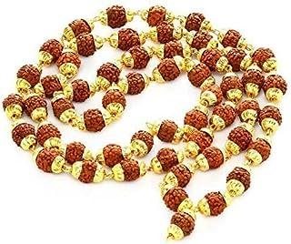 Shree Shyam Gems & Jewellery 5 Mukhi 55 Beads Multicolour Brass Golden Cap Rudraksha Mala for Men and Women