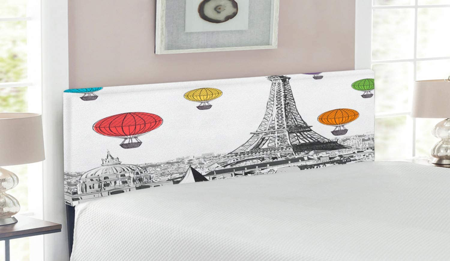 Ambesonne Paris Headboard Greyscale Factory outlet Eiffel Dame Tower Ranking TOP10 Notre and