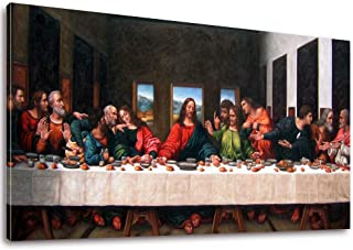 """Vijf Arte The Last Supper by by Leonardo Davinci- 20"""" x 40"""" Long Classic Painting Print Pictures Canvas Artwork Framed for..."""
