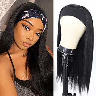 Long Straight Headband Wigs for Women 24 inch Long Silky Straight Synthetic Wigs Highlights Brown Color Hair Wigs With Hea...