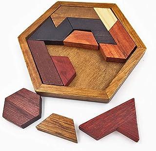 Cosyliving Hexagon Tangram Classic Chinese Handmade Wooden Puzzle Jigsaw Brain Teaser for Kids & Adult Disentanglement Puz...