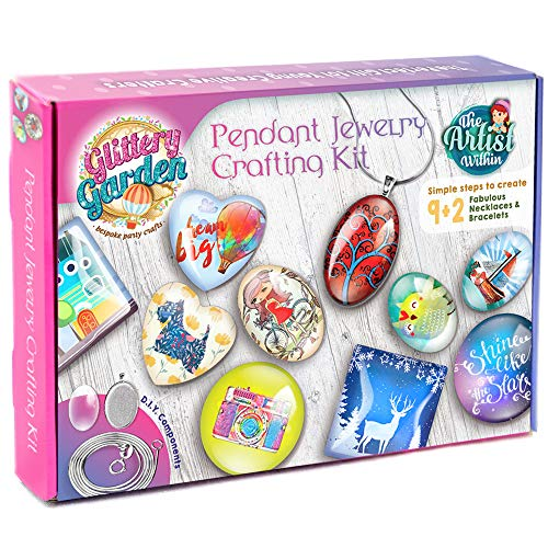 Girls Jewelry Making Kit. Best DIY Necklace Pendant and Bracelet Crafting Set with Glass Beads & Charms - Fashion Accessories, Arts & Crafts Supplies. Great as Birthday Gift, Projects & Group Activity