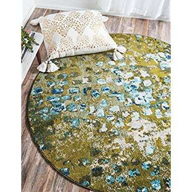 Unique Loom Estrella Collection Vibrant Abstract Green Round Rug (6' x 6')