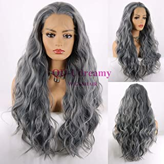 QD-Udreamy Natural Long Grey Color Mixed Hair Water Wave Heat Resistant Fiber Synthetic Lace Front Wigs for Women