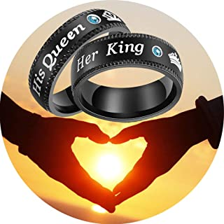Jemant Couple Rings for His Queen Her King Crown Black Stainless Steel Blue Cubic Zirconia Promise Rings Real Love Nickel Free Engagement Wedding Personalized Gay Lesbian Unisex