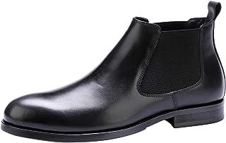 Classiques Homme Chelsea Boots en Cuir Business Adulte Enfiler Hiver Bottes Chaussures Noir Rouge