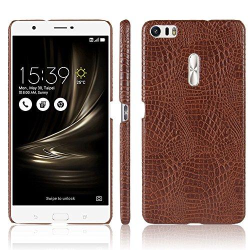 Asus Zenfone 3 Ultra ZU680KL Case,Full Coverage PU Leather Hard Back Protective Luxury Classic Crocodile Leather Skin Pattern Phone Case for Zenfone 3 Ultra ZU680KL 6.8 Inch (Brown)