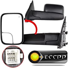 ECCPP Towing Mirrors fit 02-08 Dodge Ram 1500 03-09 Dodge Ram 2500 3500 Pickup Truck Power Heated Tow Folding Side View Black Mirror Pair Set: Right Passenger and Left Driver Side 02 03 04 05 06 07 08