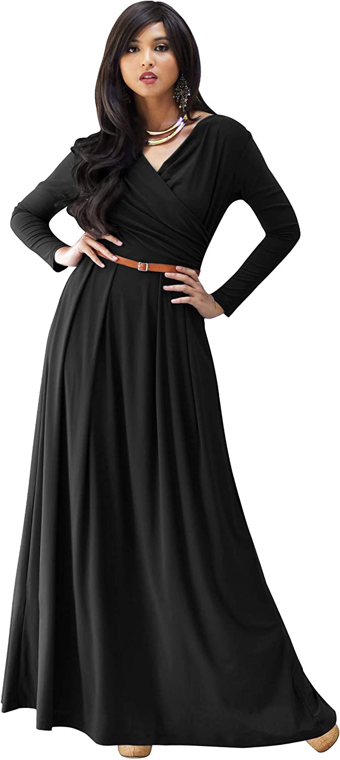 KOH Womens Courier shipping free shipping Long V-Neck Full Flowy Great interest Formal Semi Evening Sleeve
