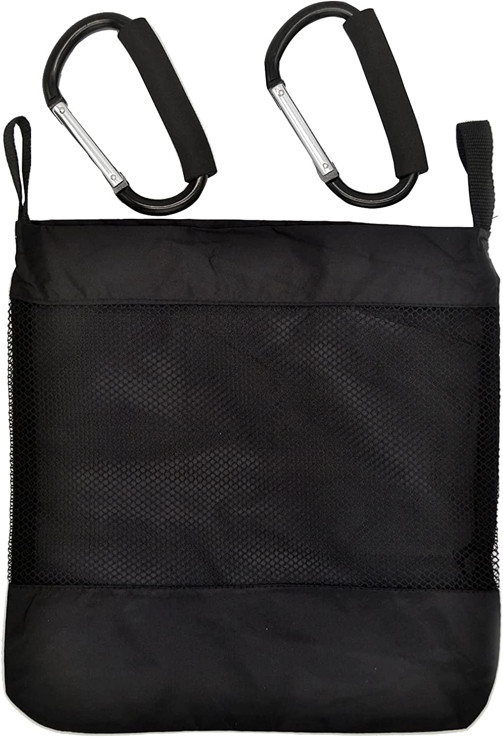 Universal Baby Stroller Organizer with Two Stroller Hooks, Extra Large Storage Space Polyester Net Mesh Storage Bag Non-Slip and Adjustable Stroller Accessories for Carrying Diaper Toys and Snacks (Black)