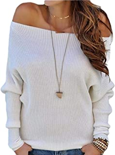 Women Off The Shoulder Sweaters Solid Cable Knit Pullover Tops
