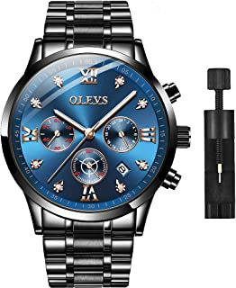 Men Stainless Steel Watch,Fashion Luxury Classic Quartz Analog Watches with Date,Black/Blue/Green Face Watch for Men,Two Tone Steel Band Wrist Watch 2020