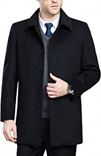 FASHINTY Men's Classical Bussiness Style Turndown Collar Wool Jacket #00237
