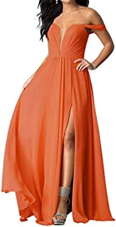 Jonlyc Off Shoulder Chiffon Bridesmaid Dresses Long Side Split Prom Evening Gowns