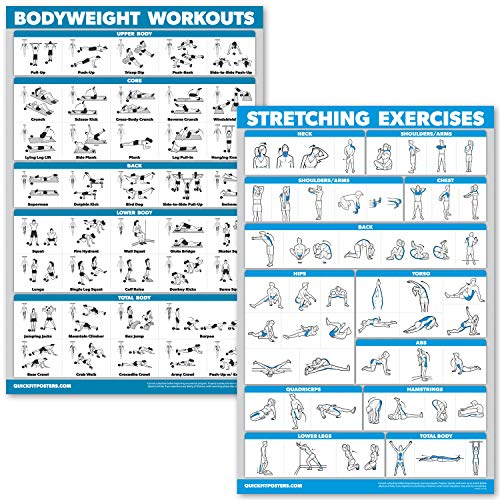 QuickFit Bodyweight Workouts and Stretching Exercise Poster Set - Laminated 2 Chart Set - Body Weight Exercise Routine & Stretching Workouts (18' x 27')