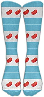 Hombres 'S Mujeres' S Novedad Bandera de Chicago Hot Dog Calcetín largo Athletic Calf High Crew Calcetines de fútbol Sports SOCKS-0370