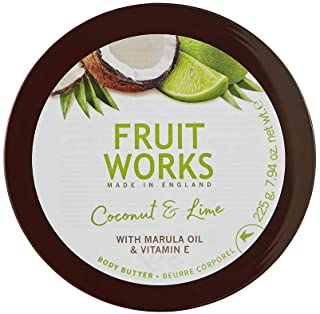 Fruit Works Coconut & Lime Cruelty Free & Vegan Body Butter With Natural Extracts 1x 225g
