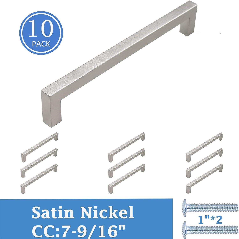 Knobonly Modern Square Bar Cabinet Dresser Door Pulls 192mm 7-9 16 Hole Spacing (Brushed Nickel, 10 Pack)