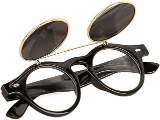 951913e64e Bluestercool Lunettes de Soleil Steampunk Goth Goggles Retro Flip Up  Lunettes de Soleil Rondes Vintage