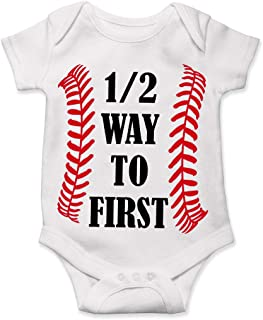 12 Birthday Bodysuit Half Way to First Baby Baseball Funny Unique
