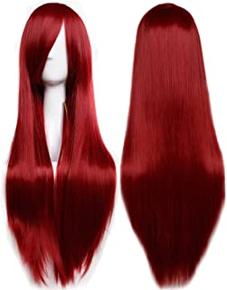 """S-noilite 32"""" (80cm) Fashion Long Straight Wine Red Full Hair Wig Heat Resistant Cosplay Anime Costume Daily Party Dress Women Lady Wigs with Bangs"""
