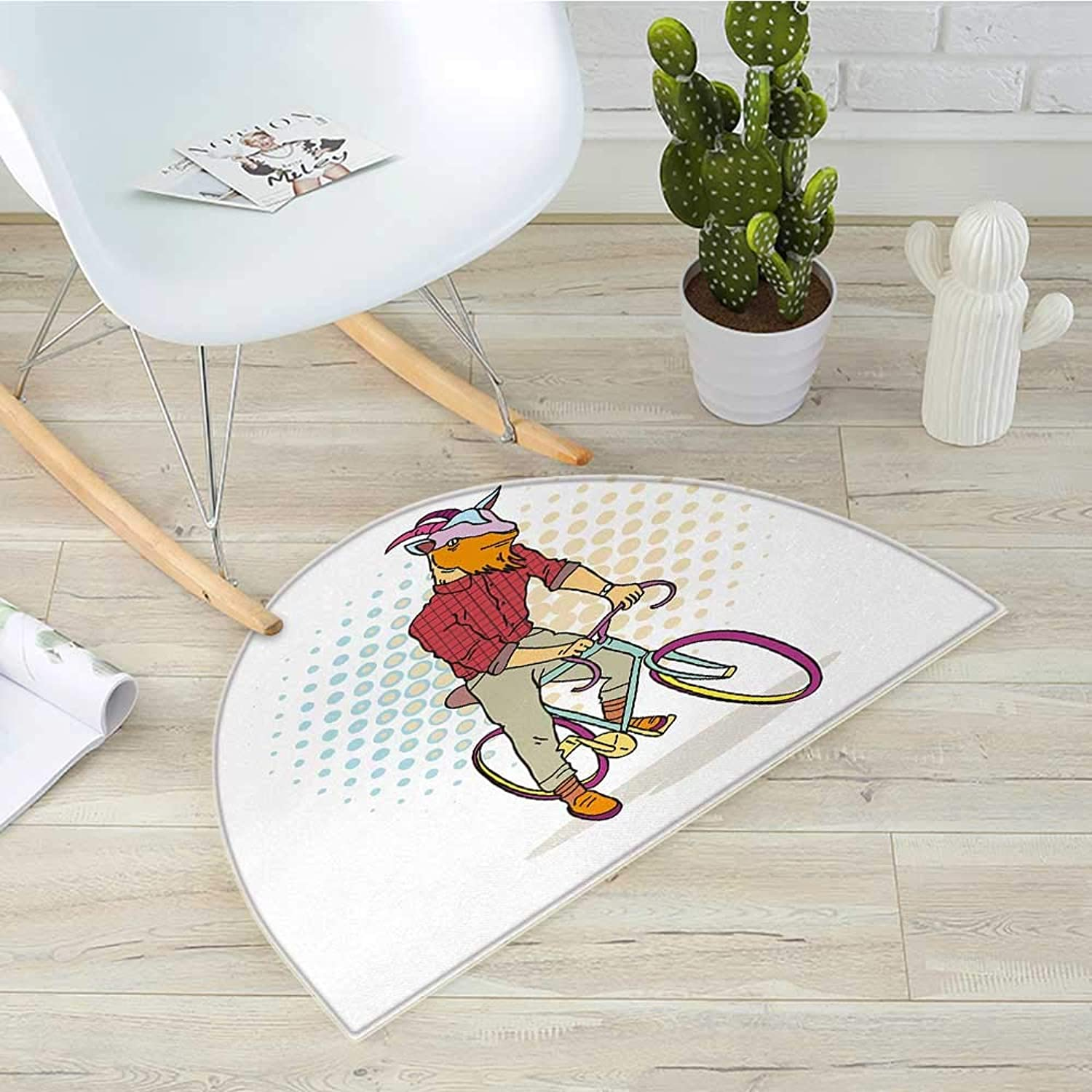 Retro Semicircular CushionHipster Goat on Bicycle Fashion Model Horns Hooves Teenager Boy colorful Artwork Entry Door Mat H 43.3  xD 64.9  Multicolor