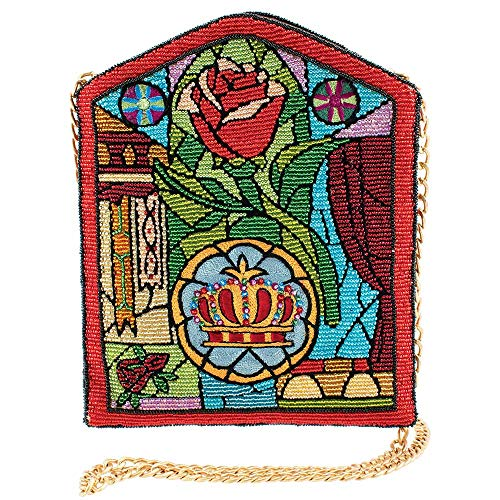 Inspired by Disney beauty and the beast's stained glass window, this hand beaded crossbody is executed in a stunning manner. Using multiple embroidery and beading techniques, even the smallest details are some beautifully articulated. From the rose t...