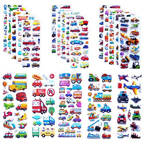 Kids Cars and Trucks Stickers Party Supplies Pack, 20 Different Sheets, Boy Stickers, Vehicle Stickers for Kids Toddler Boys with Cars, Fire Trucks, Construction, Buses, Airplane, Rocket and More
