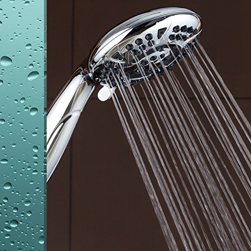 """AquaDance High Pressure 6-Setting 4.15"""" Chrome Face Hand Held Shower Head with Hose for Ultimate Shower Experience! Officially Independently Tested to Meet Strict US Quality & Performance Standards"""