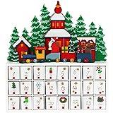 Deuba Calendario Avvento da Riempire Paesaggio Natalizio Legno Bambini Decorazione Natalizia