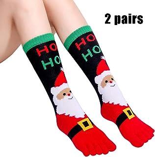GuoYq, GuoYq Calcetines NavideñOs,Calcetines para NiñOs con Dedos De Los Pies AlgodóN Crew Navidad Calcetines Unisex para Amantes Familia Adultos NiñOs, Novedad
