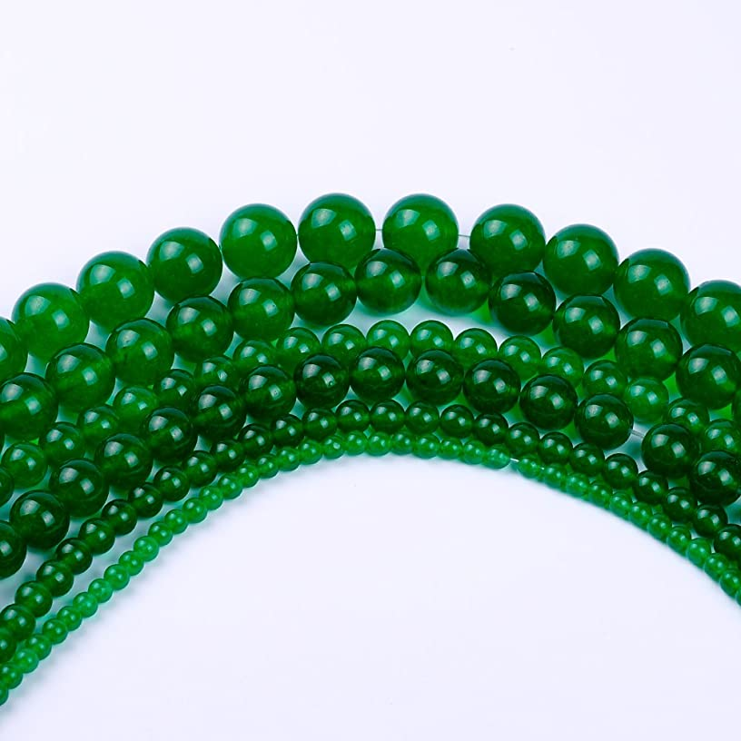 Natural Round Dark Green Jade Loose Stone Beads For Bracelet Necklace DIY Jewelry Making 4MM, 6MM, 8MM, 10MM, 12MM By Ruilong (4MM)