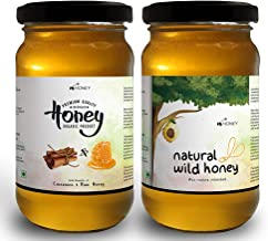 HiHoney Saurashtra Honey Bee Farm Organic Natural Forest Honey and Cinnamon Infused Honey Raw and Unpasteurized Glass Jar Combo (250 g + 20 g x 2)