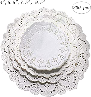Kalolary Paper Lace Doilies Round White, 200 pcs 9.5 inch Disposable Cake Doilies Coaster, for Plates Crafts Wedding Invitation Decor